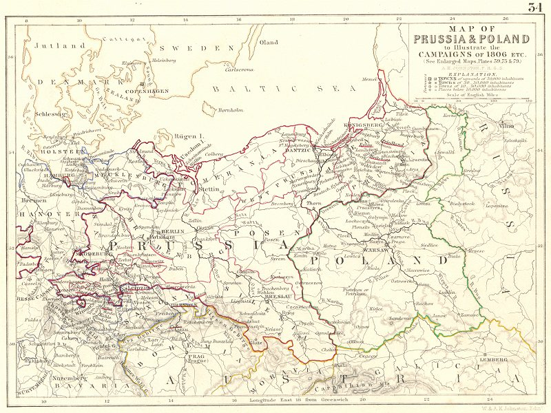 Associate Product PRUSSIA & POLAND illustrating 1806 Campaign. Napoleonic Wars. Germany 1848 map