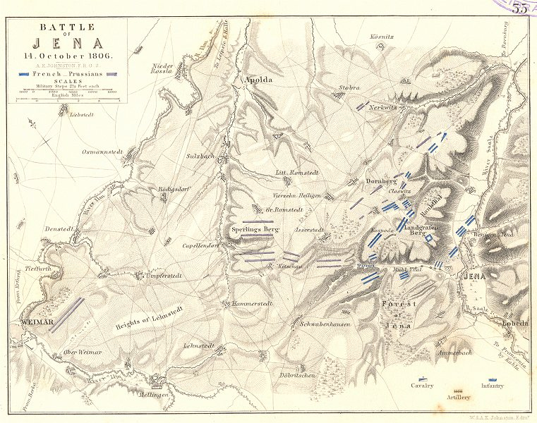Associate Product BATTLE OF JENA. 14th October 1806. Germany. Napoleonic Wars. Weimar 1848 map