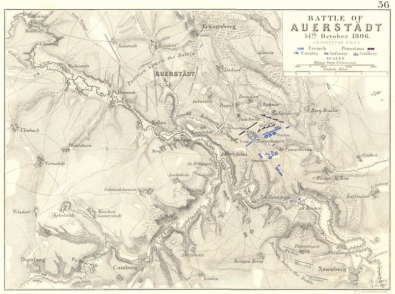 Associate Product BATTLE OF AUERSTEDT. 14th October 1806. Germany. Napoleonic Wars 1848 old map