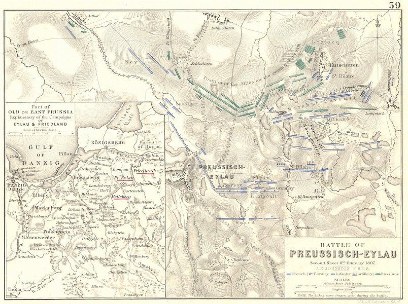 Associate Product BATTLE OF PREUSSISCH-EYLAU. BAGRATIONOVSK 1807 Prussia Pravdinsk Russia 1848 map