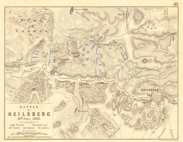 Associate Product BATTLE OF LIDZBARK WARMINSKI (HEILSBERG). 10th June 1807. Poland 1848 old map