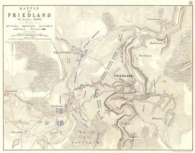 Associate Product BATTLE OF FRIEDLAND. PRAVDINSK. 14th June 1807. Poland. Napoleonic Wars 1848 map