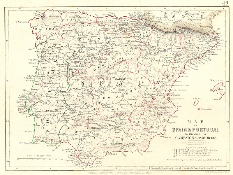 Associate Product SPAIN  & PORTUGAL. Illustrate the campaigns 1808. Napoleonic Wars 1848 old map