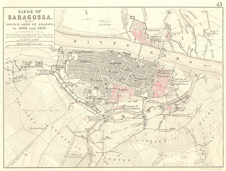 Associate Product SIEGE OF ZARAGOZA BY THE FRENCH ARMY OF ARAGON. Saragossa. 1808/1809 1848 map