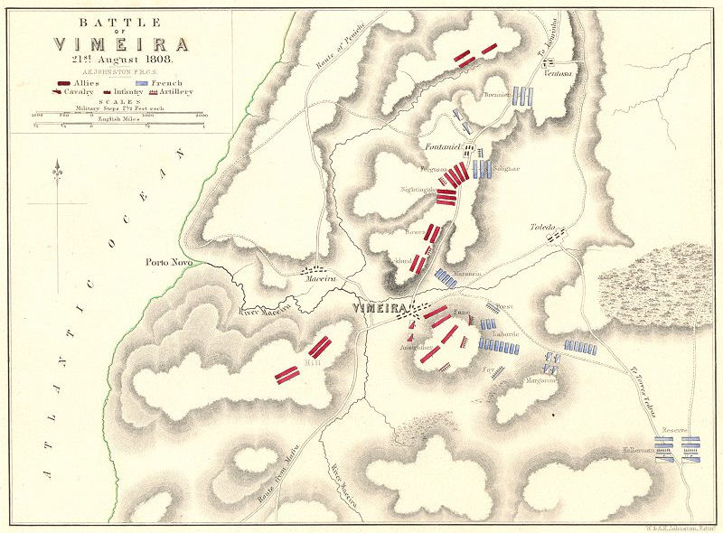 Associate Product BATTLE OF VIMEIRO. 21st August 1808. Portugal. Napoleonic Wars 1848 old map