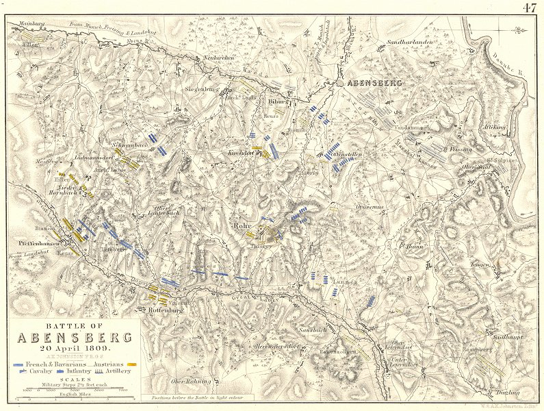 Associate Product BATTLE OF ABENSBERG. 20th April 1809. Germany. Napoleonic Wars 1848 old map