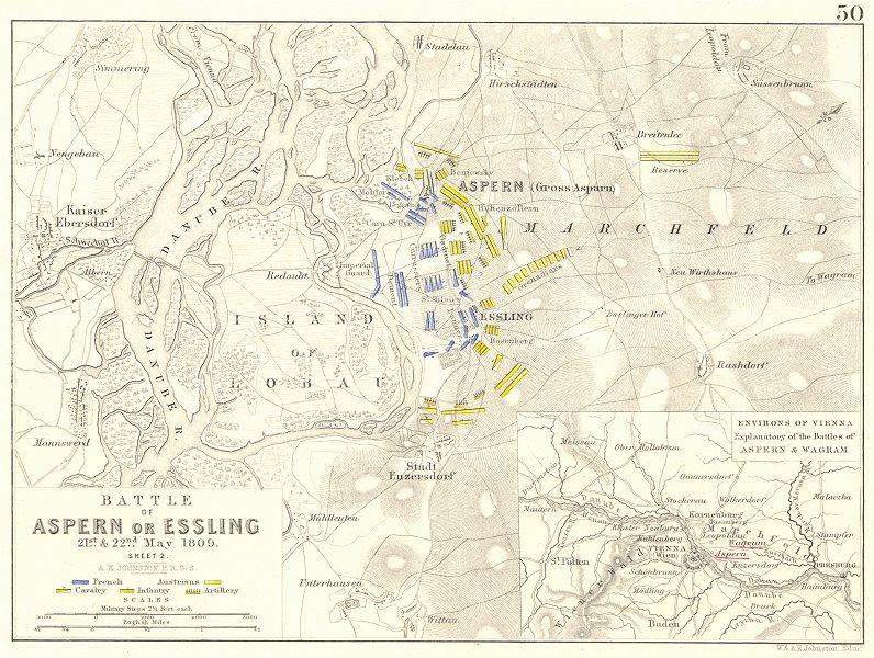Associate Product BATTLE OF ASPERN OR ESSLING. 21- 22nd May 1809 - sheet 2. Austria 1848 old map