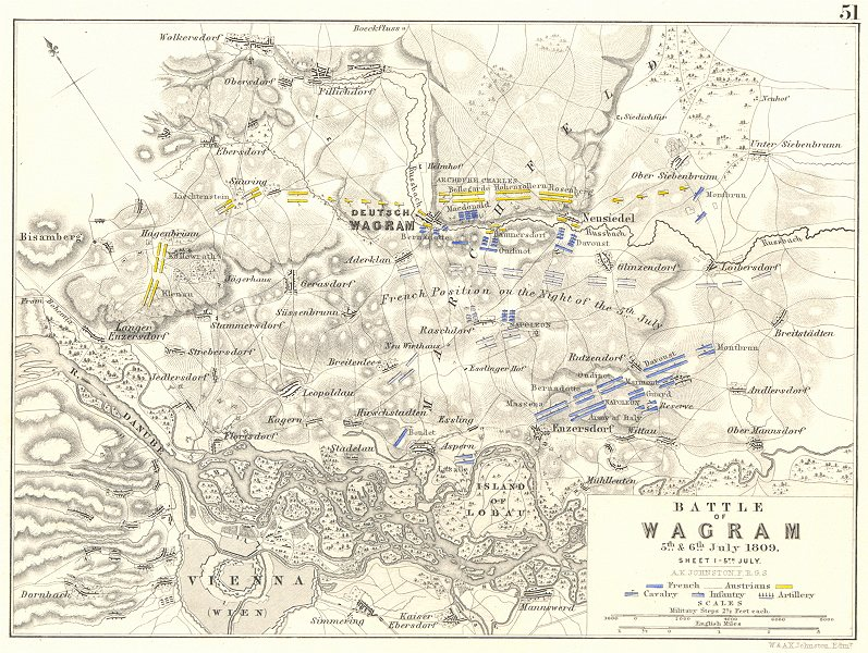 Associate Product BATTLE OF WAGRAM. 5th & 6th July 1809 - sheet 1. Austria. Vienna 1848 old map