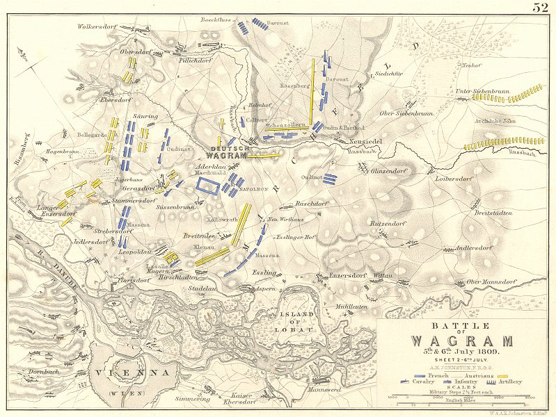Associate Product BATTLE OF WAGRAM. 5th & 6th July 1809 - sheet 2. Austria. Vienna 1848 old map