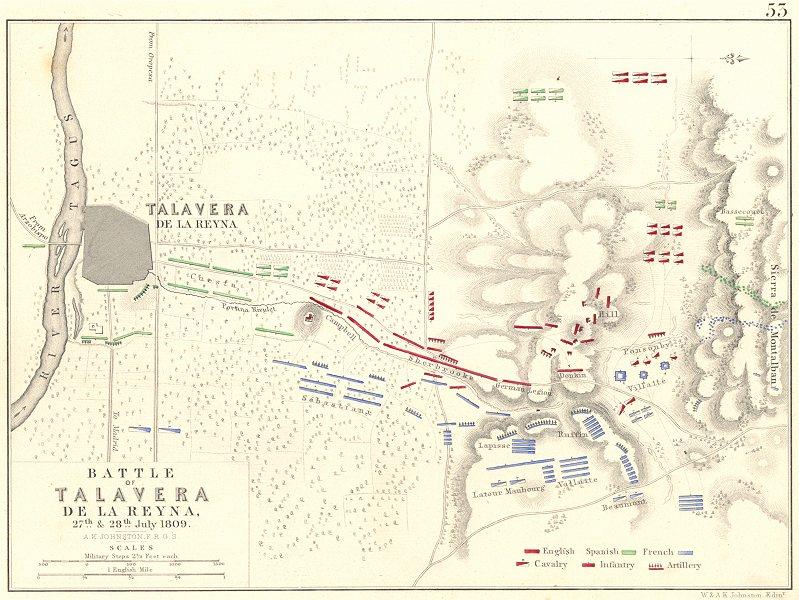 Associate Product BATTLE OF TALAVERA DE LA REYNA. 27th & 28th July 1809. Spain 1848 old map