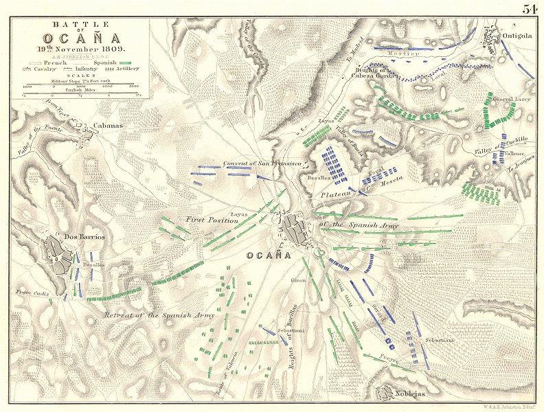 Associate Product BATTLE OF OCANA. 19th November 1809. Ocaña Dos Barrios. Spain 1848 old map