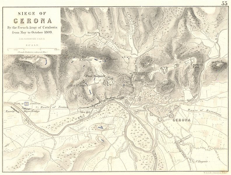Associate Product SIEGE OF GERONA. French army Catalonia Catalunya May-Oct 1809. Spain 1848 map