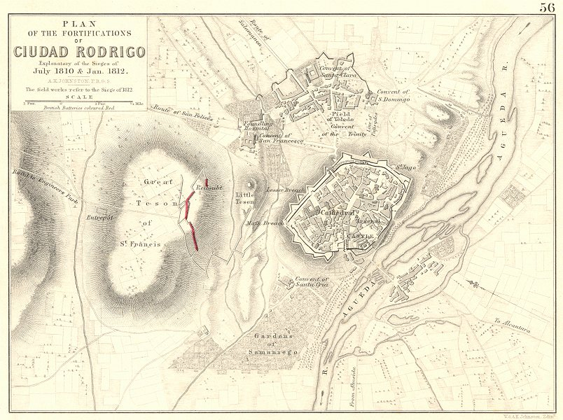 Associate Product SIEGE OF CIUDAD RODRIGO. July 1810 & Jan 1812. Napoleonic Wars 1848 old map