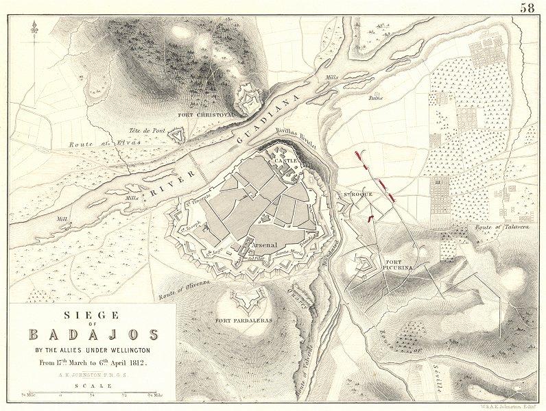 Associate Product SIEGE OF BADAJOZ. Wellington 17 March-6 April 1812.  Napoleonic Wars 1848 map
