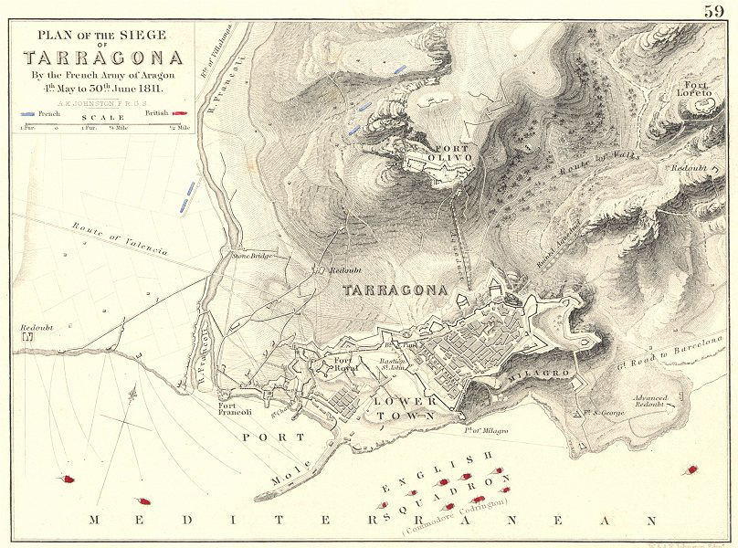 Associate Product SIEGE OF TARRAGONA. French Army Aragon 4 May-30 June 1811. Spain 1848 old map