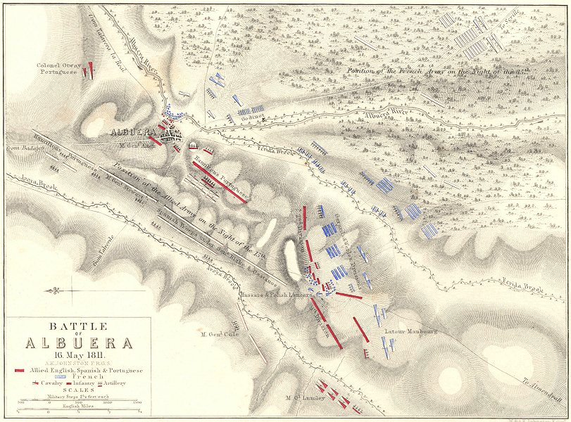 Associate Product BATTLE OF ALBUERA. 16th May 1811. Spain. Napoleonic Wars 1848 old antique map