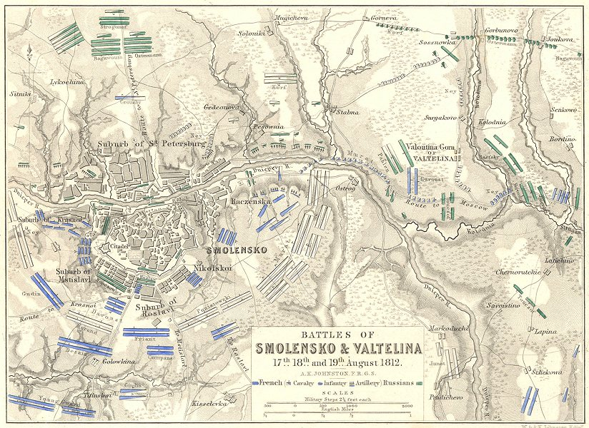 Associate Product BATTLES OF SMOLENSK & VALTELINA. 17th, 18th & 19th August 1812. Russia 1848 map