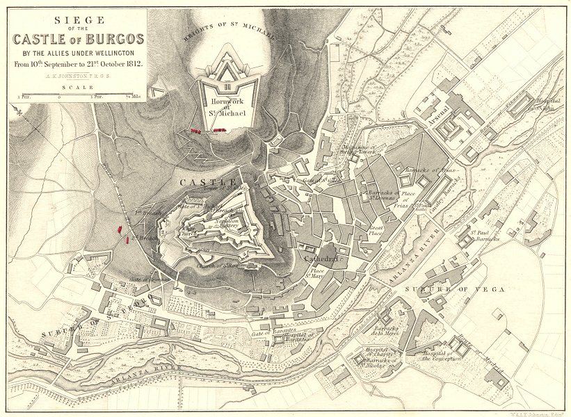 Associate Product SIEGE OF BURGOS CASTLE. Allies Wellington 10 Sep- 21 Oct 1812 1848 old map
