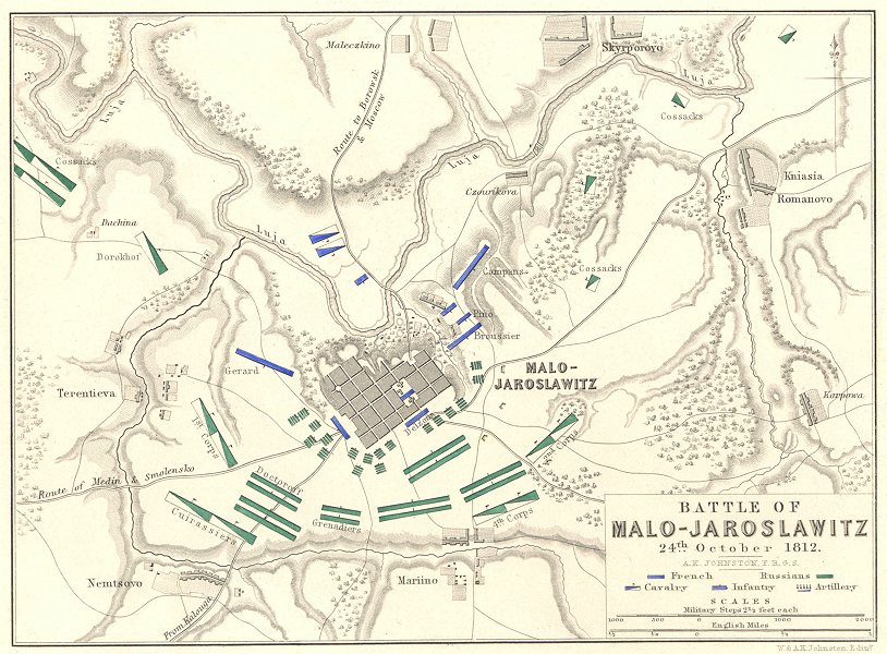 Associate Product BATTLE OF MALO-JAROSLAWITZ. 24th October 1812. Russia. Napoleonic Wars 1848 map