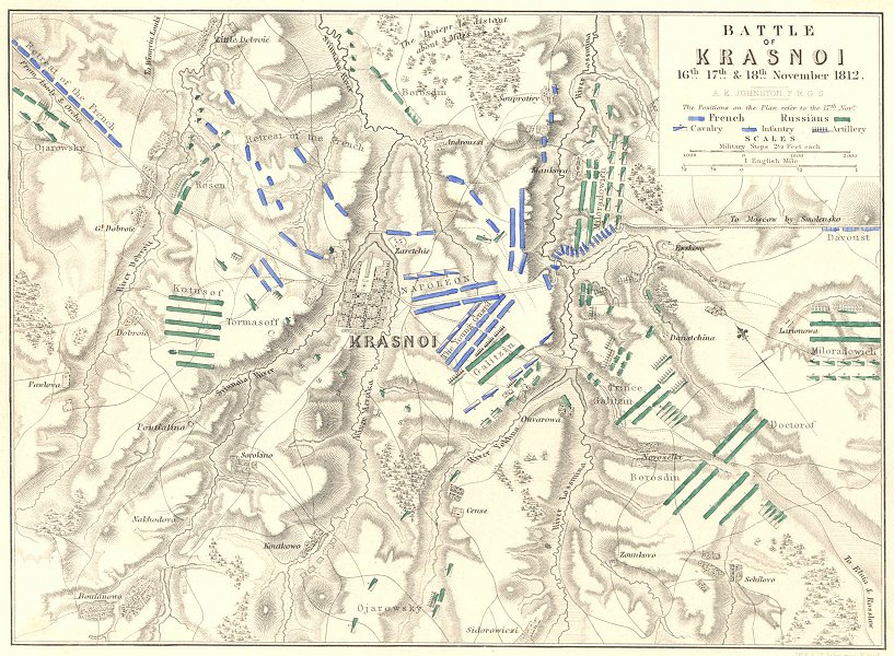 Associate Product BATTLES OF KRASNY. 16th, 17th, and 18th November 1812. Russia 1848 old map