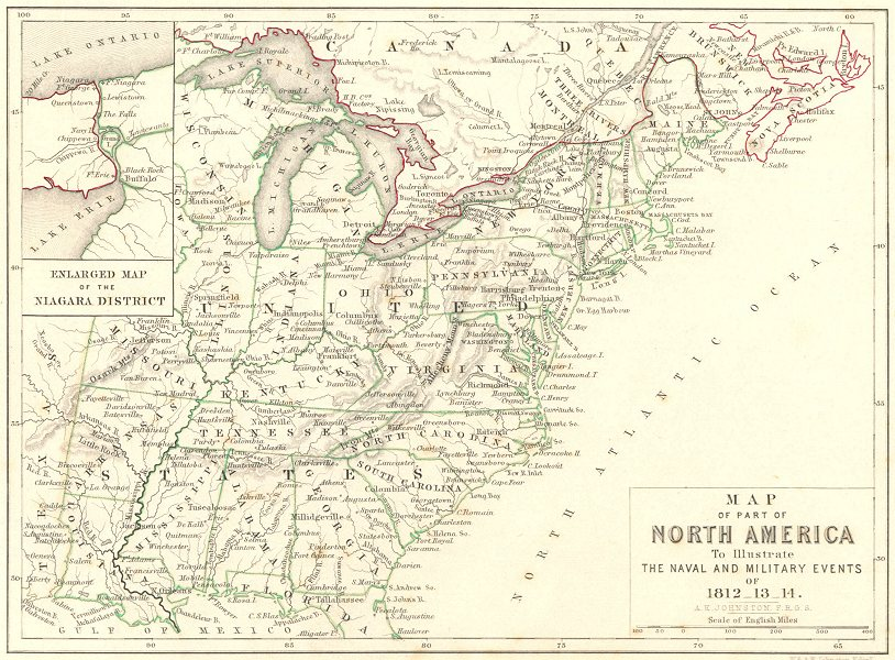 Associate Product NORTH AMERICA. Map of. Naval & Military events. Napoleonic Wars 1848 old