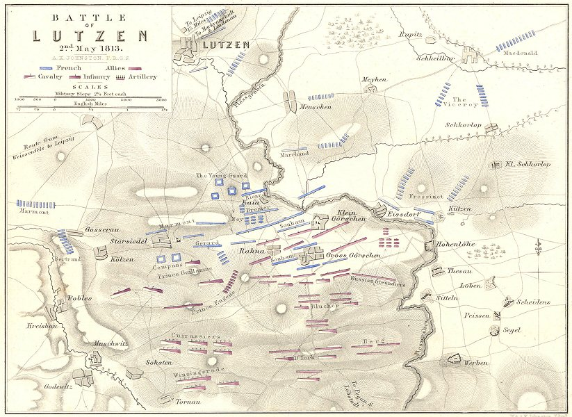 Associate Product BATTLE OF LUTZEN. 2nd May 1813. Germany. Napoleonic Wars 1848 old antique map