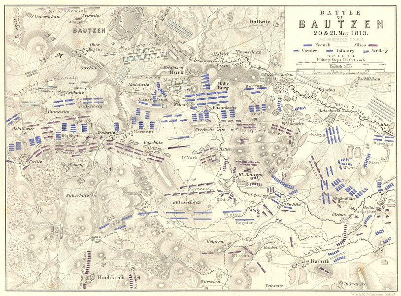 Associate Product BATTLE OF BAUTZEN. 20th and 21st May 1813. Germany. Napoleonic Wars 1848 map