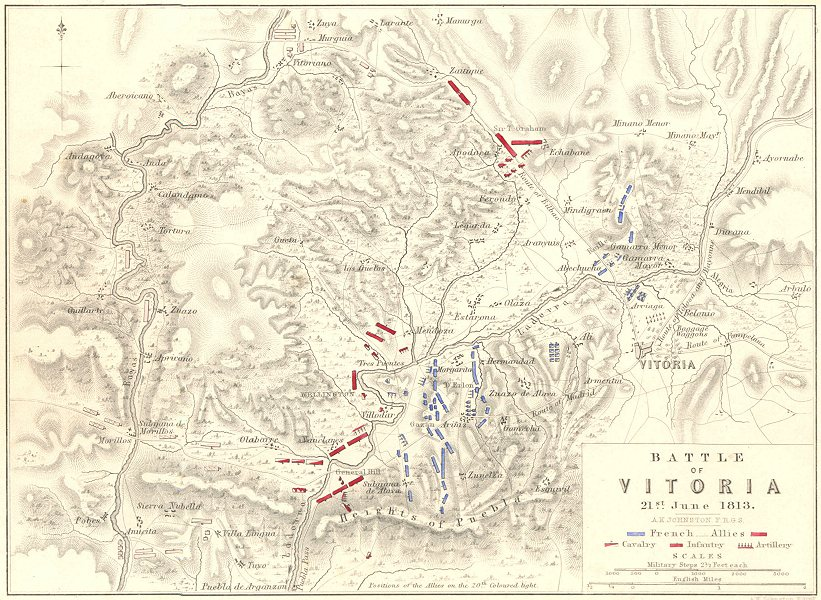 Associate Product BATTLE OF VITORIA. 21st June 1813. Spain. Napoleonic Wars 1848 old antique map