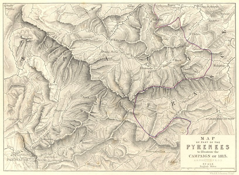 Associate Product PYRENEES. Map Illustrating the 1813 campaign. Napoleonic Wars. Pamplona 1848