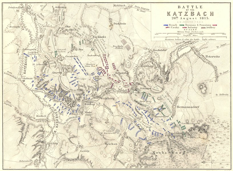 Associate Product BATTLE OF THE KATZBACH. 26th Aug 1813. Poland. Napoleonic Wars 1848 old map