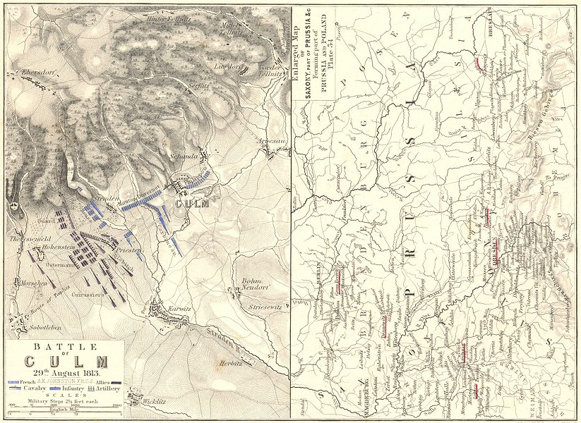Associate Product BATTLE OF CULM. 29 Aug 1813. Saxony Prussia Germany. Napoleonic Wars 1848 map