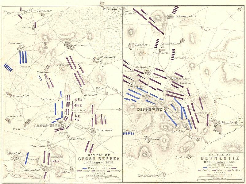 Associate Product BATTLES GROSS BEEREN 23RD AUG 1813; BATTLE DENNEWITZ. 6th Sep. Germany 1848 map