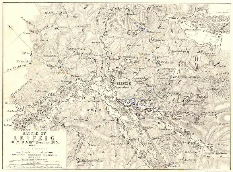Associate Product BATTLE OF LEIPZIG. 16-19th October 1813. Sheet 1. Germany 1848 old antique map