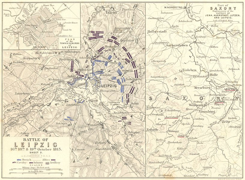 Associate Product BATTLE OF  LEIPZIG. 16-19th October 1813 Sheet 2. Saxony. Germany 1848 old map