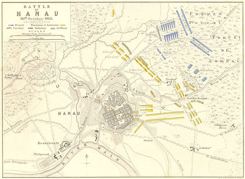 Associate Product BATTLE OF HANAU. 30th October 1813. Germany. Napoleonic Wars 1848 old map