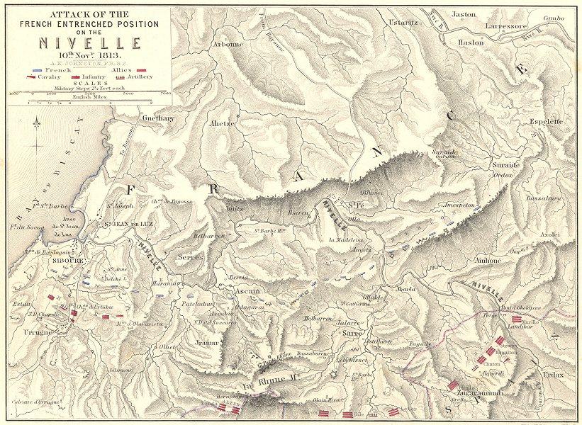 Associate Product BATTLE OF NIVELLE. 10 Nov 1813 French Revolutionary Wars St Jean de Luz 1848 map
