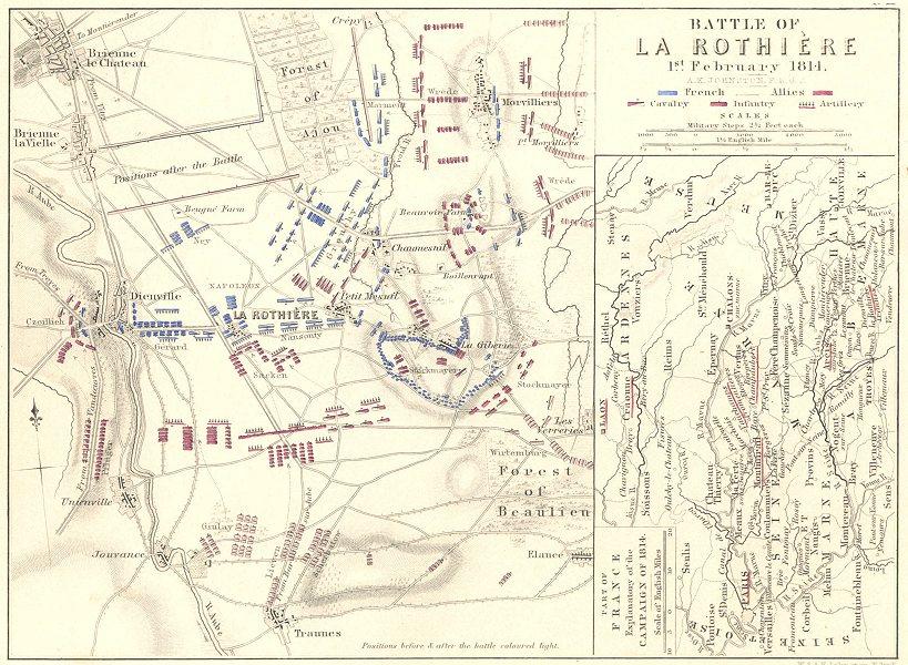 Associate Product BATTLE OF ROTHIÈRE 1 Feb 1814. Brienne-le-Chateau Dienville Morvilliers 1848 map