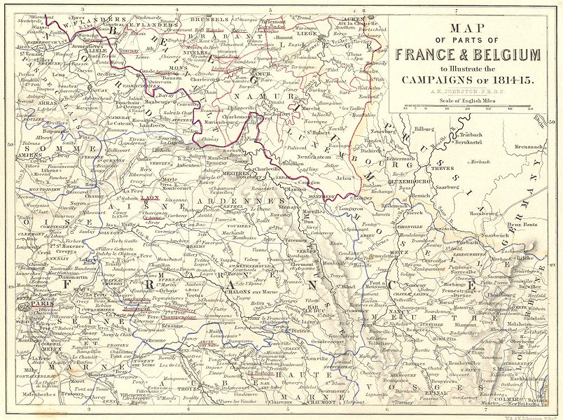 Associate Product FRANCE & BELGIUM illustrating the campaigns of 1814-15 Napoleonic Wars 1848 map