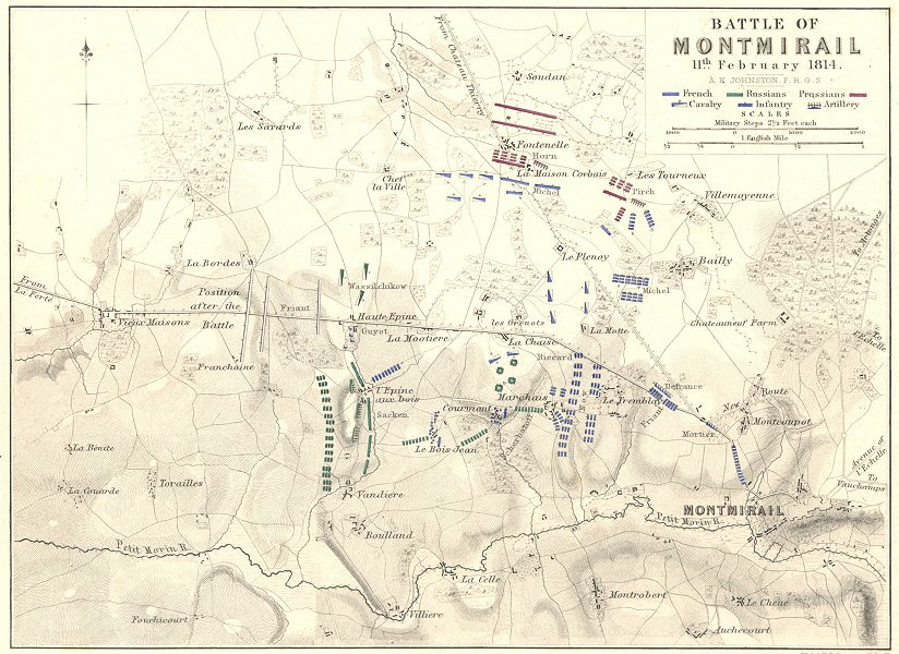 Associate Product BATTLE OF MONTMIRAIL. 11th February 1814. France. Napoleonic Wars 1848 old map