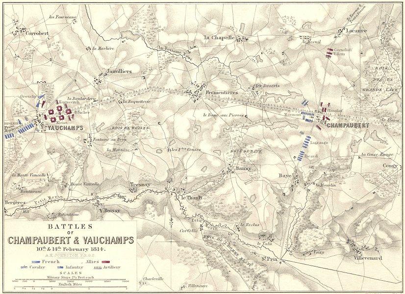Associate Product BATTLES OF CHAMPAUBERT & VAUCHAMPS. 10th & 14th February 1814. Marne 1848 map