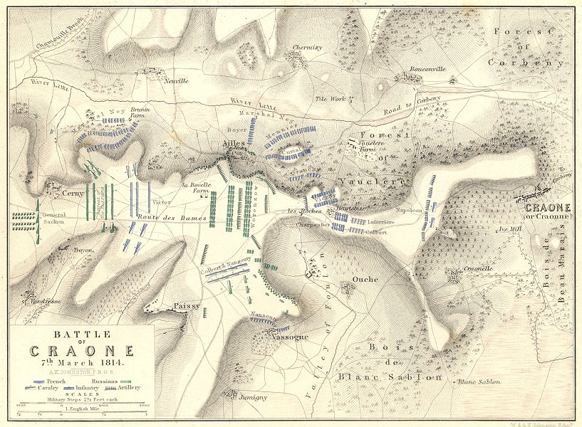 BATTLE OF CRAONNE. 7th March 1814. Aisne. Napoleonic Wars 1848 old antique map