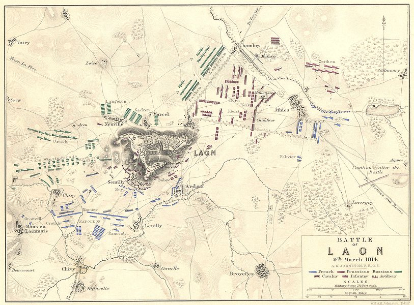 Associate Product BATTLE OF LAON. 9 March 1814. Aisne. Napoleonic Wars 1848 old antique map