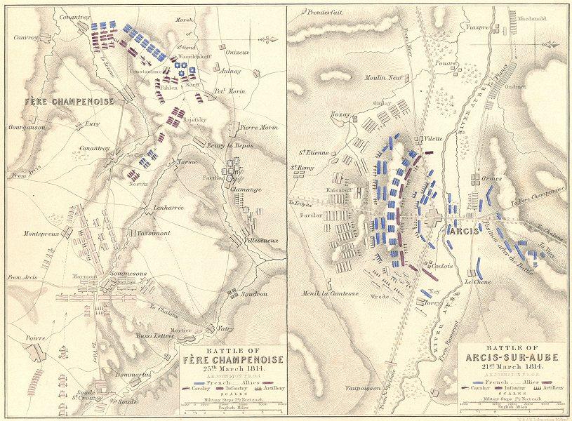 Associate Product BATTLES OF ARCIS-SUR-AUBE & FÈRE CHAMPENOISE. 21 & 25 March 1814. Aube 1848 map
