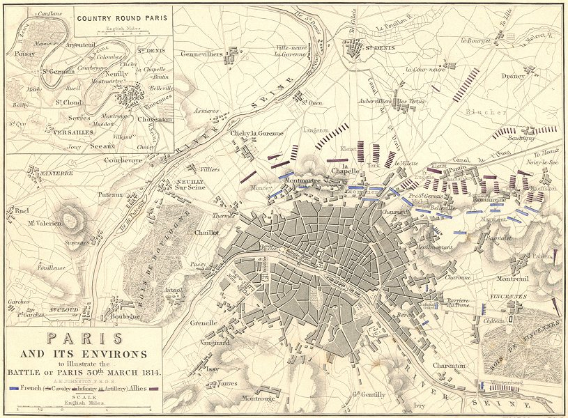 Associate Product BATTLE OF PARIS. 30th March 1814. France. Napoleonic Wars 1848 old antique map