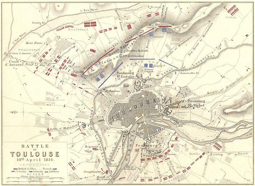 BATTLE OF TOULOUSE. 10th April 1814. Haute- Garonne. Napoleonic Wars 1848 map