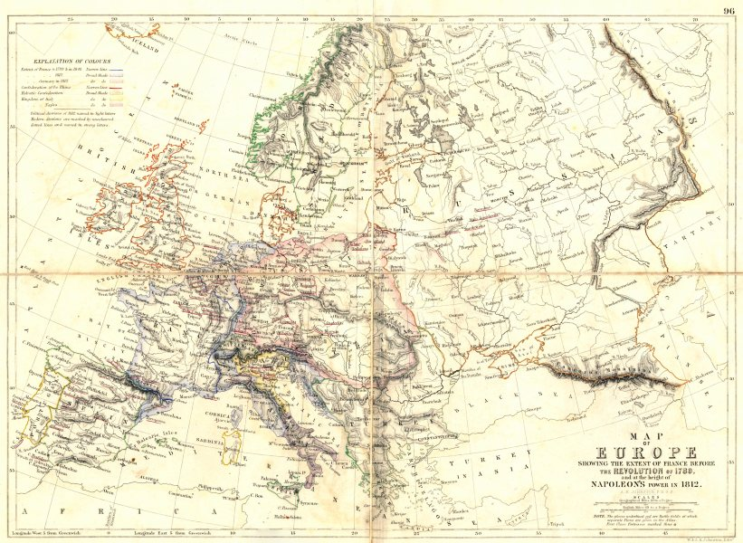 Associate Product EUROPE at French revolution 1789 & at height of Napoleon's Power 1812 1848 map