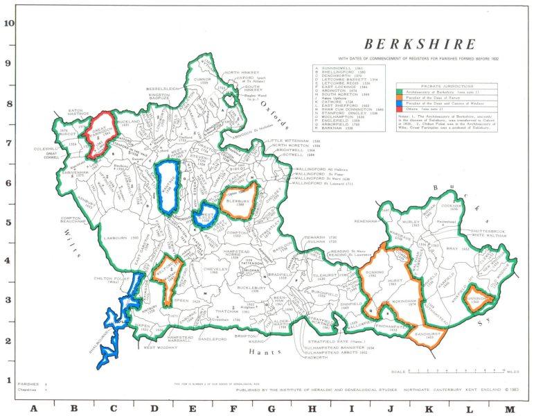 Associate Product BERKSHIRE. Parishes.Register start date. Ecclesiastical jurisdictions 1984 map
