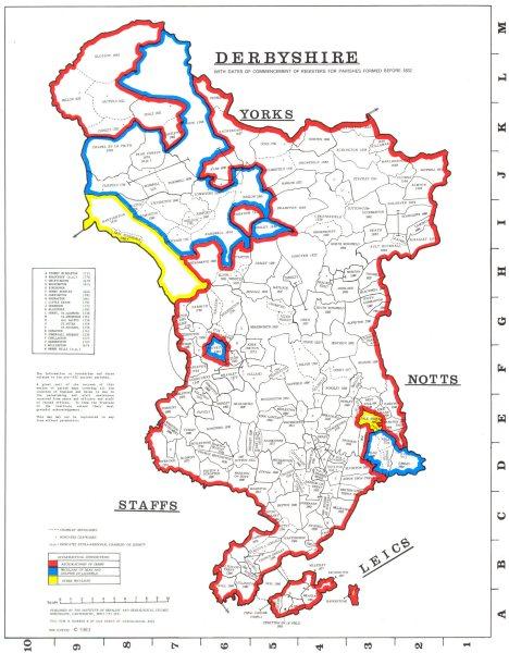Associate Product DERBYSHIRE. Parishes.Register start date. Ecclesiastical jurisdictions 1984 map