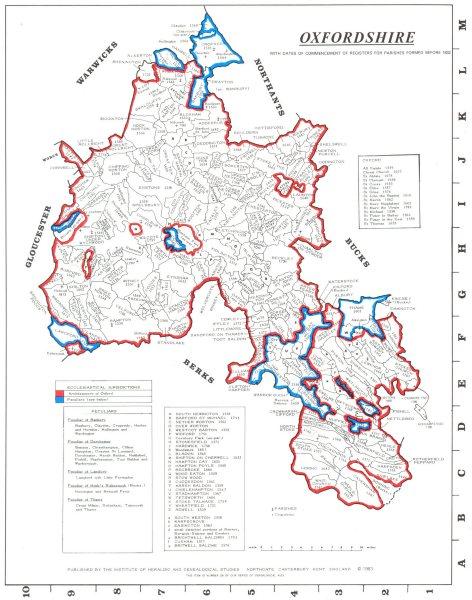 Associate Product OXFORDSHIRE. Parishes.Register start date. Ecclesiastical jurisdictions 1984 map