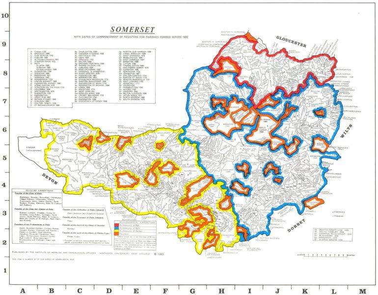Associate Product SOMERSET. Parishes.Register start date. Ecclesiastical jurisdictions 1984 map